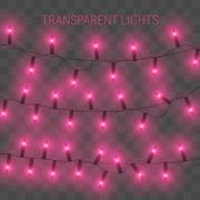 Glowing lights for holidays. Transparent shiny garland. Stock Illustration
