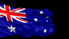 Australia flag looped with alpha channel Stock Footage