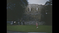 Vintage 16mm film, 1952, UK York, ruins and city b-roll Stock Footage