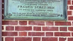 Tilt up on Plaque at historic Baltimore Flag House home of Star Spangled Banner Stock Footage