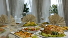 Dinner at a restaurant serving delicious meals Stock Footage