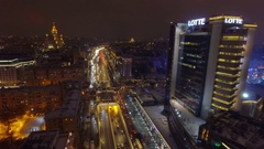 Moscow aerial Christmas New Year time night cityscape, Garden Ring. Stock Footage