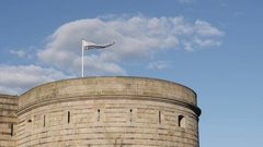Bretagne flag in Nantes on the castle tower Stock Footage