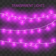 Christmas lights. Glowing garland on transparent background Stock Illustration