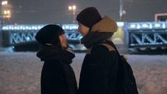 Happy Couple Love Kissing Fun City Dating Travel Bridge Famous Lifestyle Stock Footage