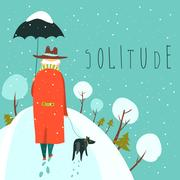 Lonely old man walking with dog in a snowy park Stock Illustration