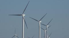 4K Wind turbine farm green energy alternative business renewable technology day  Arkistovideo