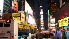Times Square time-lapse, buses, tourists, Broadway Theaters and LED signs Stock Footage