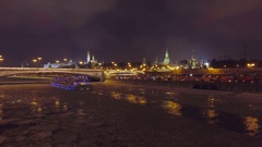 Moscow aerial Christmas New Year time night Kremlin, St Basils Cathedral, river. Stock Footage