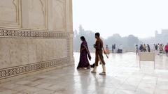 Visitors at Taj Mahal in Agra, India Stock Footage
