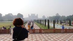Taj Mahal Gardens in Agra, India Stock Footage