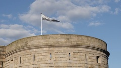 Flag of Bretagne in Nantes on the castle tower Stock Footage