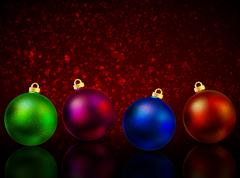 Multi-colored Christmas balls on a red background bokeh Stock Illustration