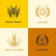 Harvesting vector logos with wheat grains Stock Illustration