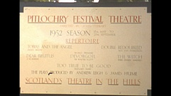 Vintage 16mm film, 1952, Scotland Pitlochry theater sign and view of area Stock Footage