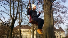 Pretty young woman on the swing Stock Footage