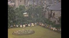 Vintage 16mm film, 1952, Scotland Pitlochry gardens, topiary Stock Footage