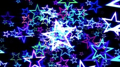 Blue Disco Retro Stars Burst Psychedelic VJ Motion Background Loop Stock Footage