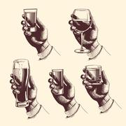 Hands holding glasses with drinks beer, tequila, vodka, rum, whiskey, wine Stock Illustration
