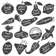 Fruits and vegetables vector stickers, labels, logos Stock Illustration