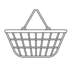 Shopping basket icon, modern line, sketch, doodle style. Metal , mesh in a .. Stock Illustration