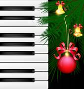 Keys and Christmas ball Stock Illustration