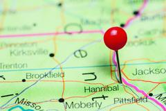 Hannibal pinned on a map of Missouri, USA Stock Photos
