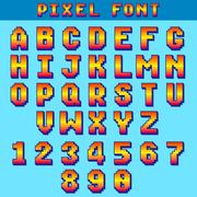 Pixel 8 bit letters and numbers vector game font, digital alphabet, typeface Stock Illustration