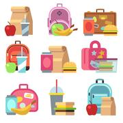 School lunch food boxes and kids bags vector flat icons Stock Illustration