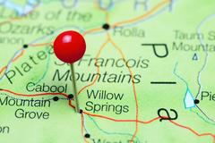 Willow Springs pinned on a map of Missouri, USA Stock Photos