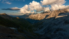Timelapse of evening in Stelvio Pass in the Alps Stock Footage