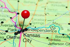 Kansas City pinned on a map of Missouri, USA Kuvituskuvat