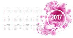 Calendar 2017 week starts from sunday purple Stock Illustration
