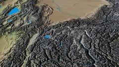 Revolution around Pamirs mountain range - masks. Natural Earth Stock Footage