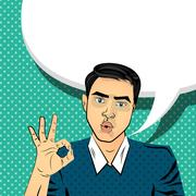Attractive brunette man gesture hand ok Stock Illustration