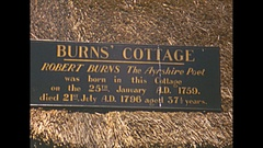 Vintage 16mm film, 1952, Scotland Ayr burns cottage, home of Robbie Burns Stock Footage