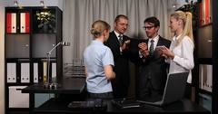 Successful Corporate Business People Talk Team Work Success Handshaking Office Stock Footage