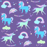 Blue unicorn on purple background with flags and fireworks Stock Illustration