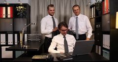 Happy Business Men Team Coworkers Talk Video Call Online Conference Office Room Stock Footage