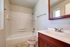 White bathroom with mahogany vanity cabinet, tub and shower combination Stock Photos