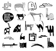 Set of vector cute animals. Stock Illustration