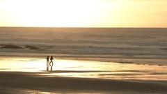 Stormy Sea Sunset Couple Stock Footage