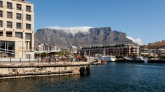 4K Time lapse Clouds over Table Mountain wide angle Stock Footage