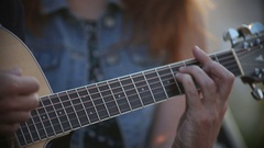 Guitarist Playing on Acoustic Guitar on Street Stock Footage