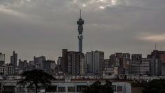 4K Time lapse Johannesburg Skyline zoom out Stock Footage