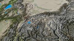 Revolution around Pamirs mountain range - masks. Satellite imagery Stock Footage