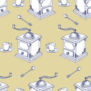Seamless Coffee Pattern vector illustration. Stock Illustration