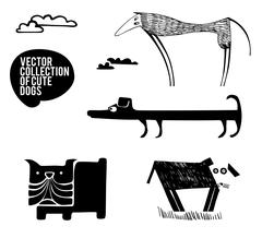 Set of silhouette dogs breeds Stock Illustration