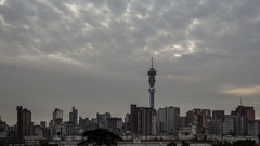 4K Time lapse Johannesburg Skyline wide angle Stock Footage