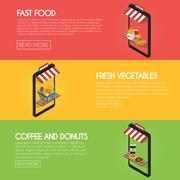 Set online food ordering banners. Shipping and buying fastfood, drinks, fre.. Stock Illustration